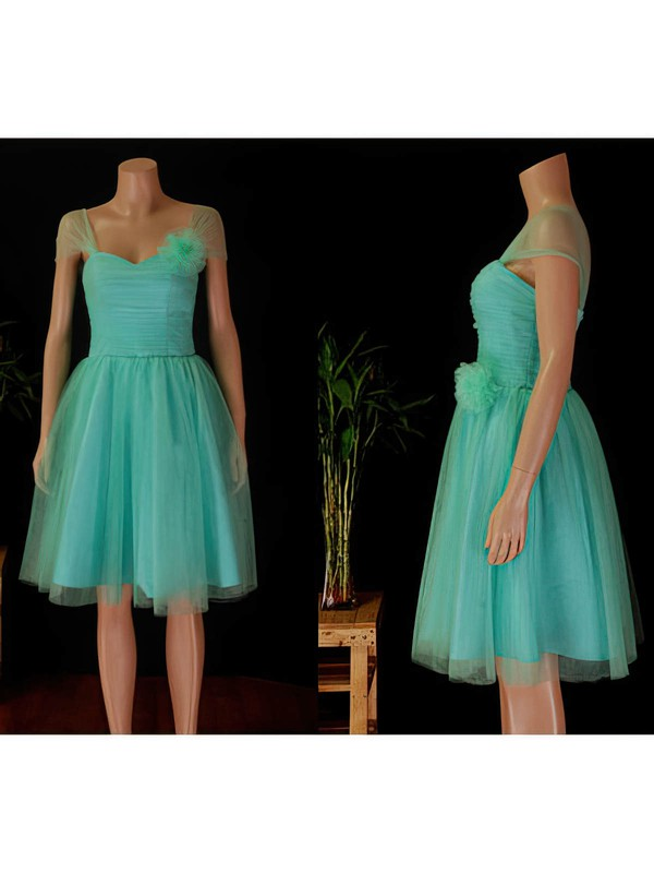 Sweetheart A-line Knee-length Tulle Ruffles Bridesmaid Dresses #DOB02017854