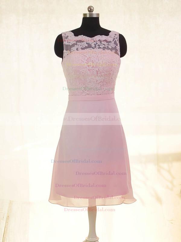 Square Neckline Sheath/Column Short/Mini Lace Chiffon Bow Bridesmaid Dresses #DOB02017878