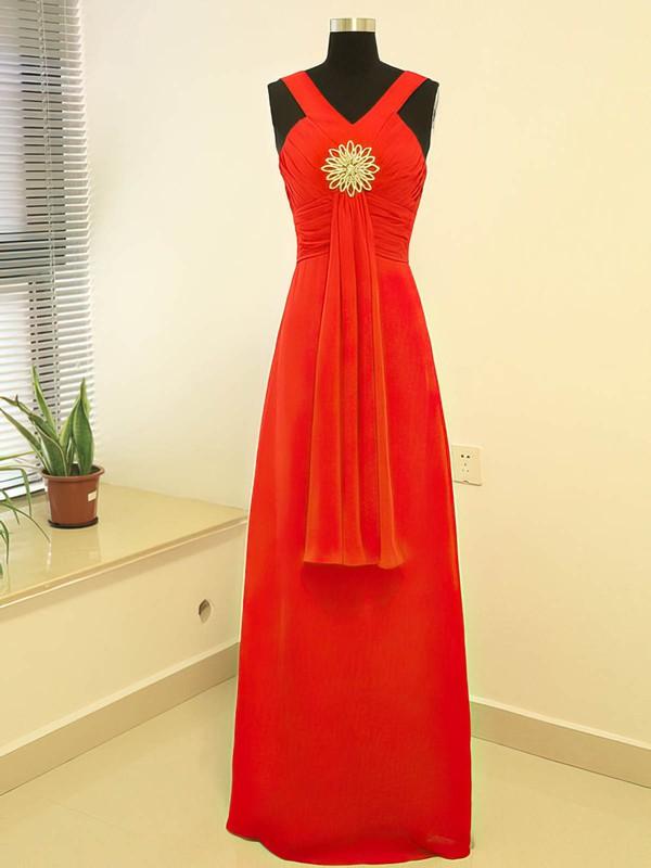 V-neck Empire Floor-length Chiffon Crystal Brooch Bridesmaid Dresses #DOB02017882