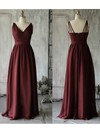 V-neck A-line Floor-length Chiffon Ruffles Bridesmaid Dresses #DOB02017889