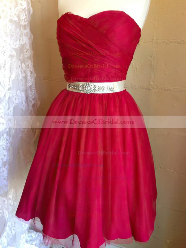 Sweetheart A-line Short/Mini Chiffon Beading Bridesmaid Dresses #DOB02017909