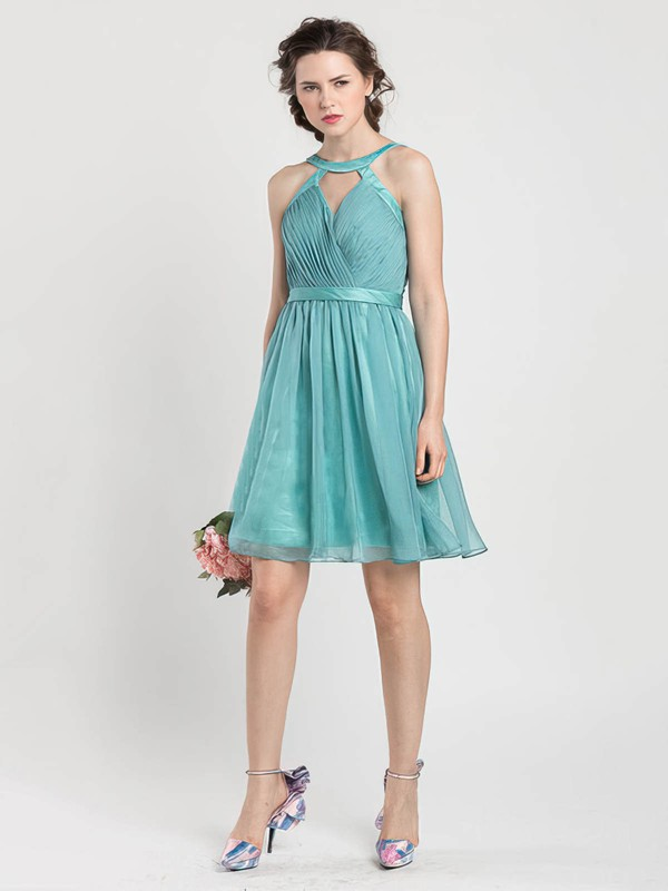 Scoop Neck A-line Short/Mini Chiffon Sashes / Ribbons Bridesmaid Dresses #DOB02017919