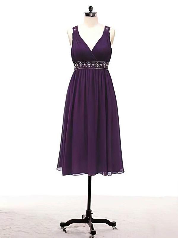 V-neck A-line Knee-length Chiffon Beading Bridesmaid Dresses #DOB02017715