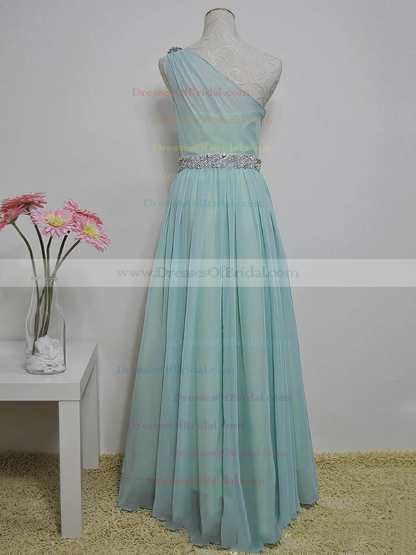 One Shoulder A-line Floor-length Chiffon Sashes / Ribbons Bridesmaid Dresses #DOB02017717