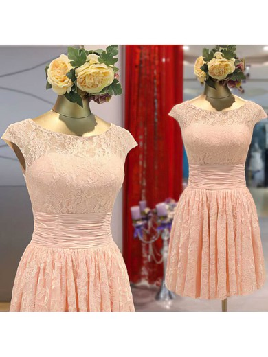 Scoop Neck A-line Short/Mini Lace Flower(s) Bridesmaid Dresses #DOB02017465