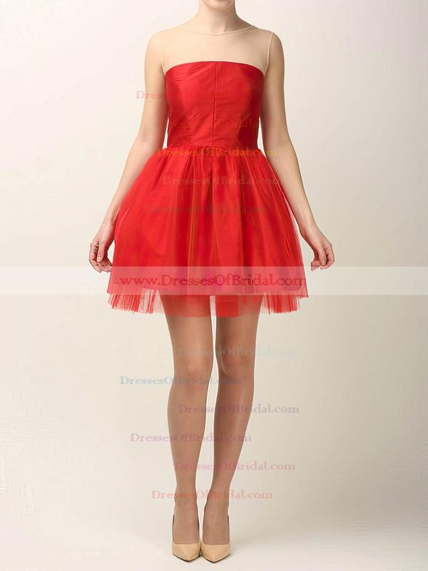 Scoop Neck Ball Gown Short/Mini Tulle Elastic Woven Satin Ruffles Bridesmaid Dresses #DOB02017490