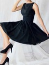Scoop Neck A-line Knee-length Chiffon Elastic Woven Satin Sashes / Ribbons Bridesmaid Dresses #DOB02017493