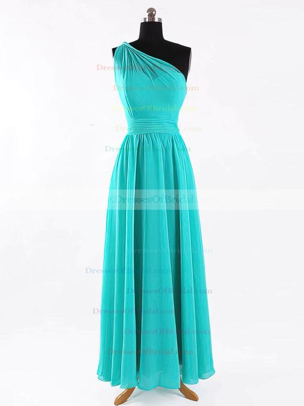 One Shoulder A-line Floor-length Chiffon Sashes / Ribbons Bridesmaid Dresses #DOB02017625
