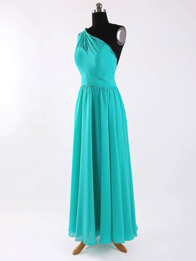 One Shoulder A-line Floor-length Chiffon Sashes / Ribbons Bridesmaid Dresses #DOB02017625
