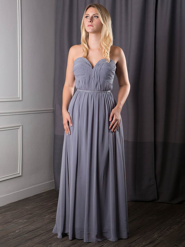Sweetheart A-line Floor-length Chiffon Sashes / Ribbons Bridesmaid Dresses #DOB02017631