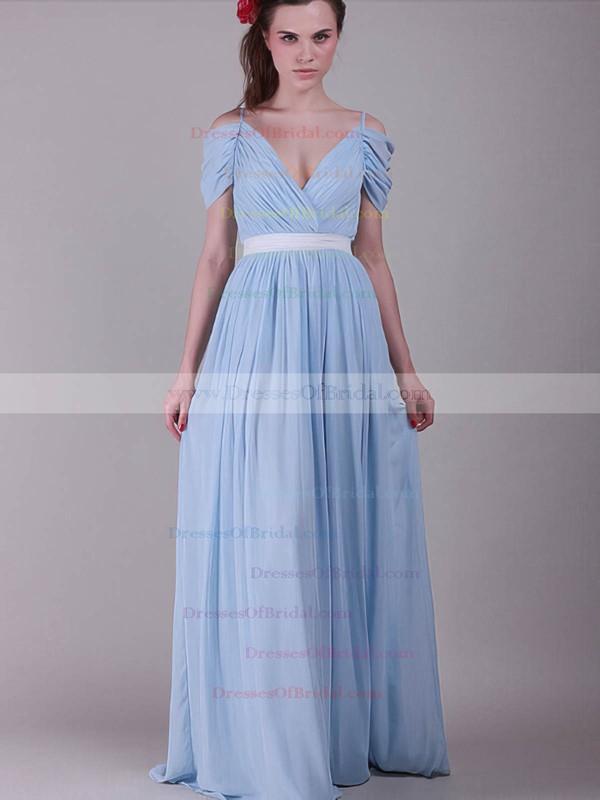 V-neck A-line Sweep Train Chiffon Sashes / Ribbons Bridesmaid Dresses #DOB02017655
