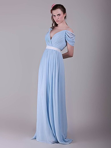 V-neck A-line Sweep Train Chiffon Sashes / Ribbons Bridesmaid Dresses #DOB02017655