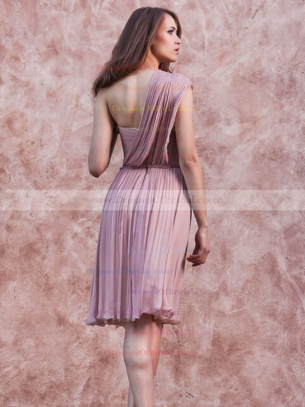 One Shoulder A-line Short/Mini Chiffon Ruffles Bridesmaid Dresses #DOB02017657