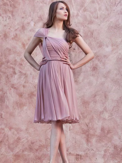 One Shoulder A-line Short/Mini Chiffon Ruffles Bridesmaid Dresses #DOB02017657