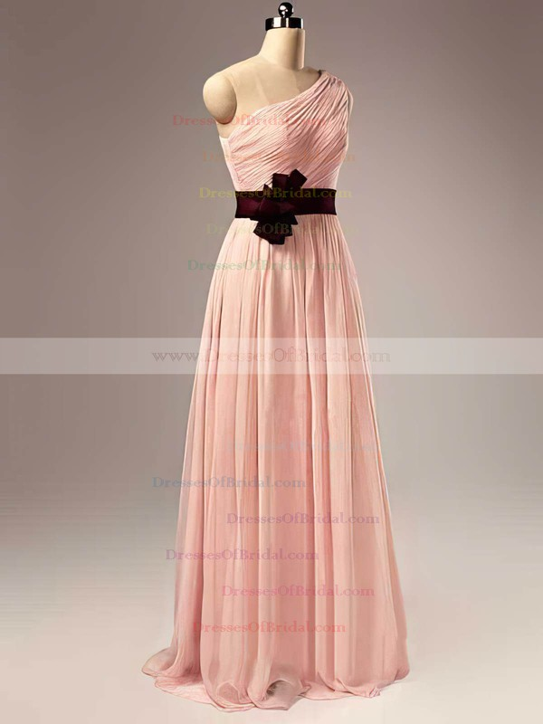 One Shoulder A-line Floor-length Chiffon Sashes / Ribbons Bridesmaid Dresses #DOB02017505