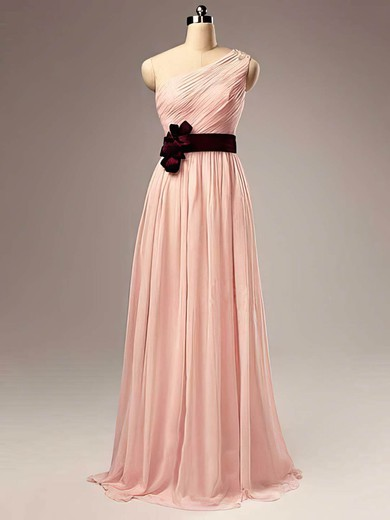 One Shoulder A-line Floor-length Chiffon Sashes / Ribbons Bridesmaid Dresses #DOB02017505