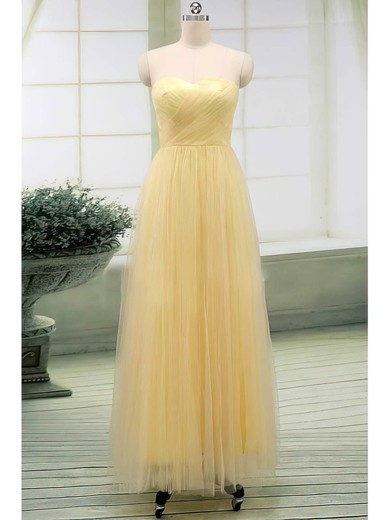Sweetheart A-line Floor-length Tulle Ruffles Bridesmaid Dresses #DOB02017513