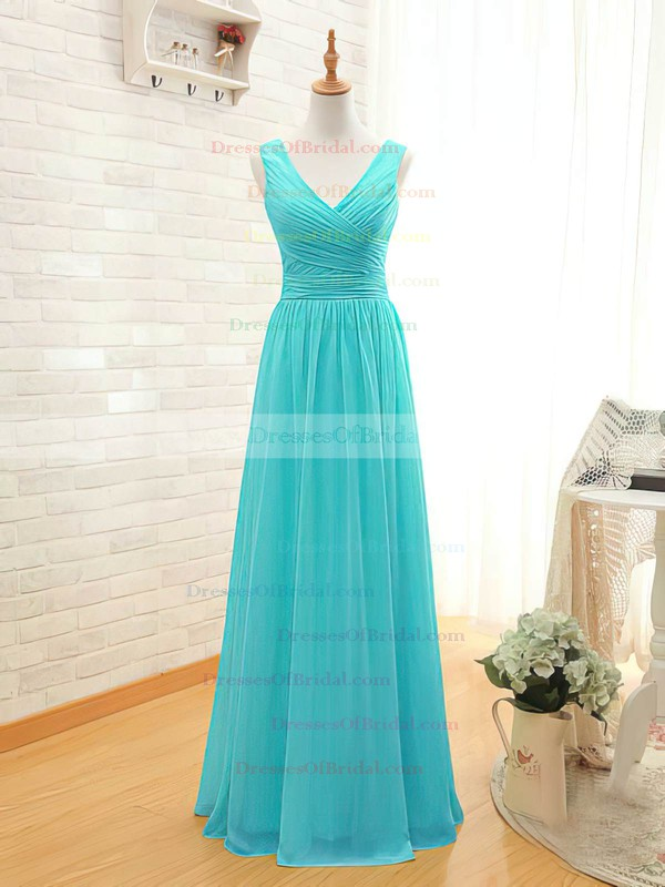 V-neck A-line Floor-length Chiffon Ruffles Bridesmaid Dresses #DOB02017535