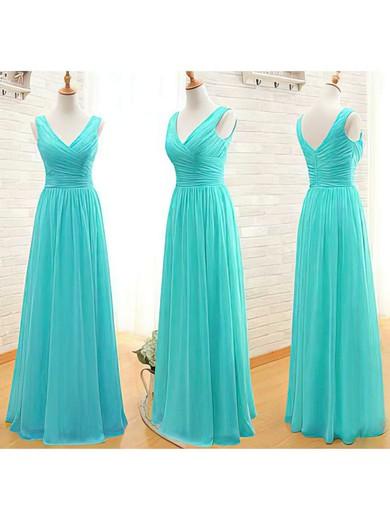 V-neck A-line Floor-length Chiffon Ruffles Bridesmaid Dresses #DOB02017535