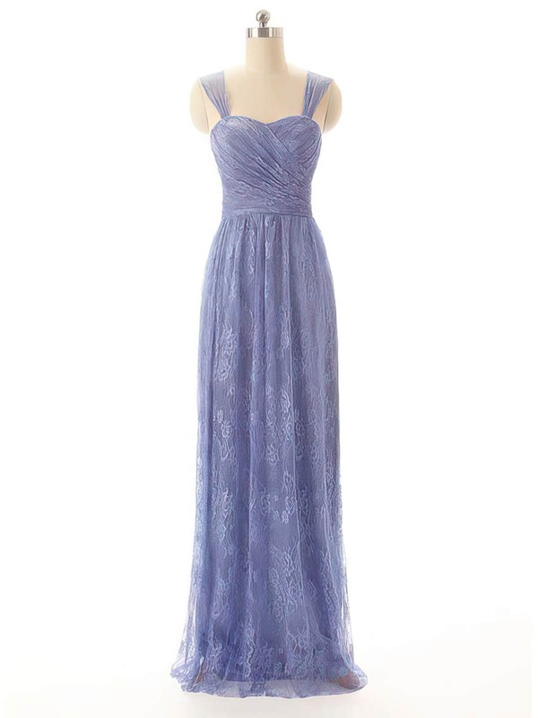 Sweetheart Sheath/Column Floor-length Lace Pleats Bridesmaid Dresses #DOB02017556