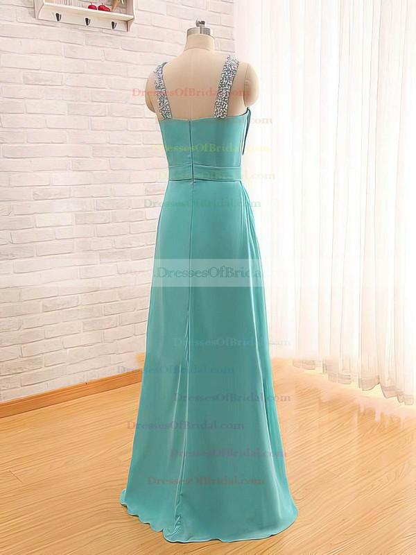 Square Neckline A-line Floor-length Chiffon Beading Bridesmaid Dresses #DOB02017565