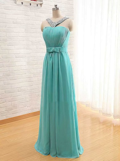 Square Neckline A-line Floor-length Chiffon Beading Bridesmaid Dresses #DOB02017565