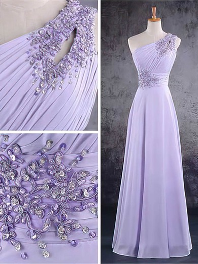 One Shoulder A-line Floor-length Chiffon Beading Bridesmaid Dresses #DOB02017584