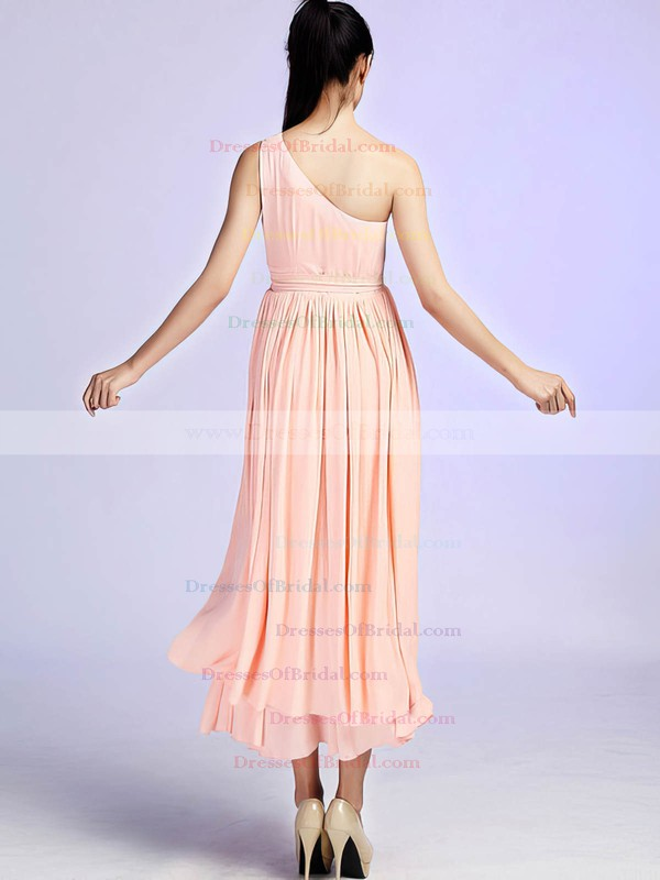 One Shoulder A-line Ankle-length Chiffon Sashes / Ribbons Bridesmaid Dresses #DOB02017685