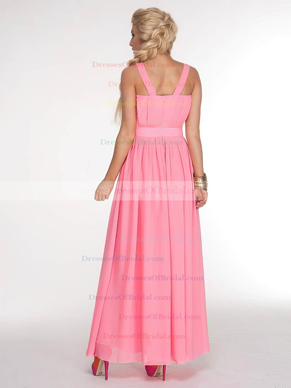 V-neck A-line Ankle-length Chiffon Sashes / Ribbons Bridesmaid Dresses #DOB02017686