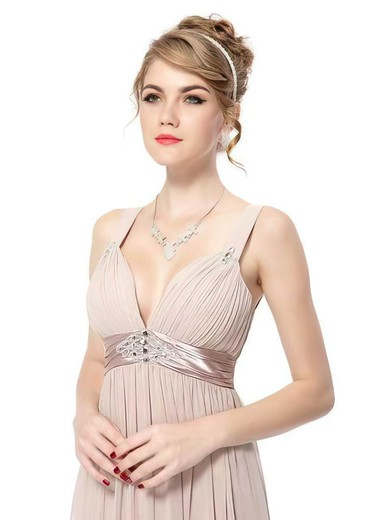V-neck Empire Ankle-length Chiffon Sashes / Ribbons Bridesmaid Dresses #DOB02017689