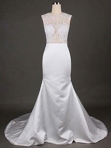 Scoop Neck Trumpet/Mermaid Court Train Satin Tulle Appliques Lace Wedding Dresses #DOB00021192