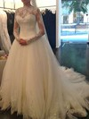 Scalloped Neck Ball Gown Chapel Train Lace Tulle Beading Wedding Dresses #DOB00021194