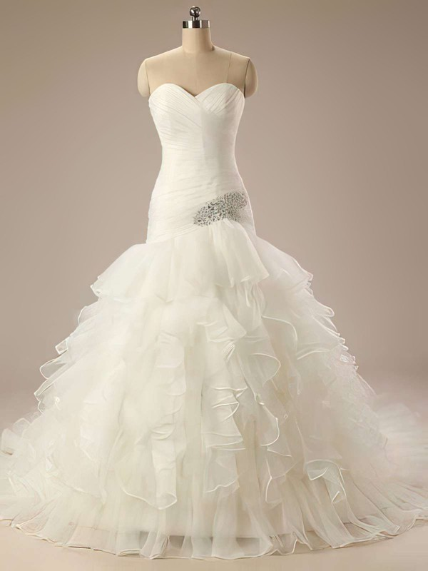 Sweetheart Trumpet/Mermaid Sweep Train Organza Beading Wedding Dresses #DOB00021199