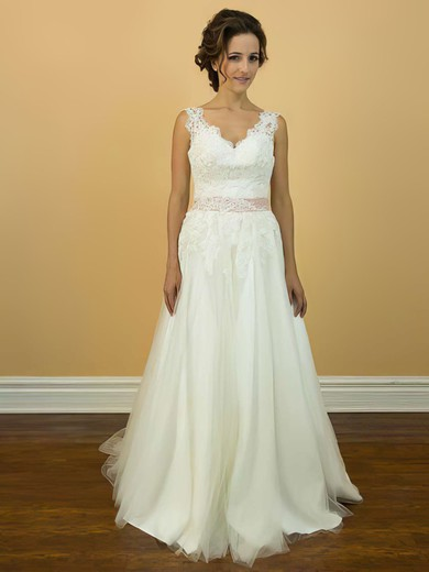 V-neck A-line Court Train Tulle Appliques Lace Wedding Dresses #DOB00021200