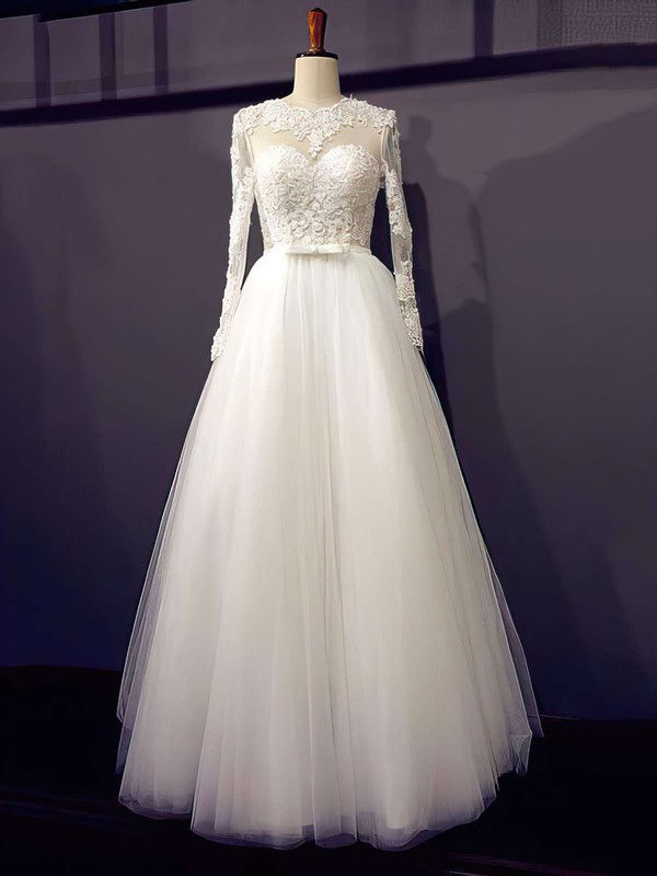 Scoop Neck Princess Floor-length Tulle Appliques Lace Wedding Dresses #DOB00021203