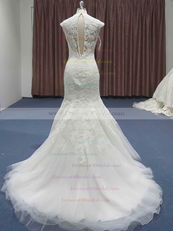 Sweetheart Trumpet/Mermaid Sweep Train Lace Tulle Ruffles Wedding Dresses #DOB00021208