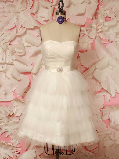 Sweetheart A-line Short/Mini Tulle Sashes / Ribbons Wedding Dresses #DOB00021212