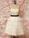 Sweetheart A-line Short/Mini Tulle Sashes / Ribbons Wedding Dresses #DOB00021212