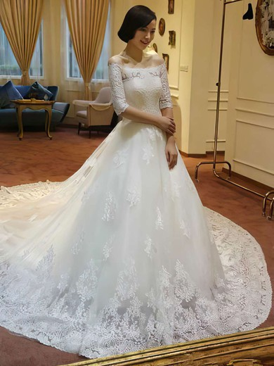 Off-the-shoulder Princess Cathedral Train Lace Tulle Appliques Lace Wedding Dresses #DOB00021213