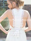 Cowl Neck A-line Sweep Train Chiffon Beading Wedding Dresses #DOB00021217