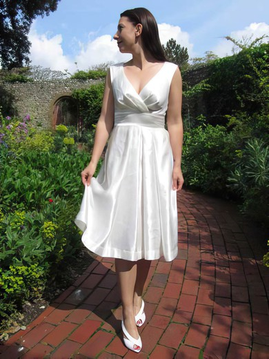 V-neck A-line Tea-length Satin Ruffles Wedding Dresses #DOB00021218