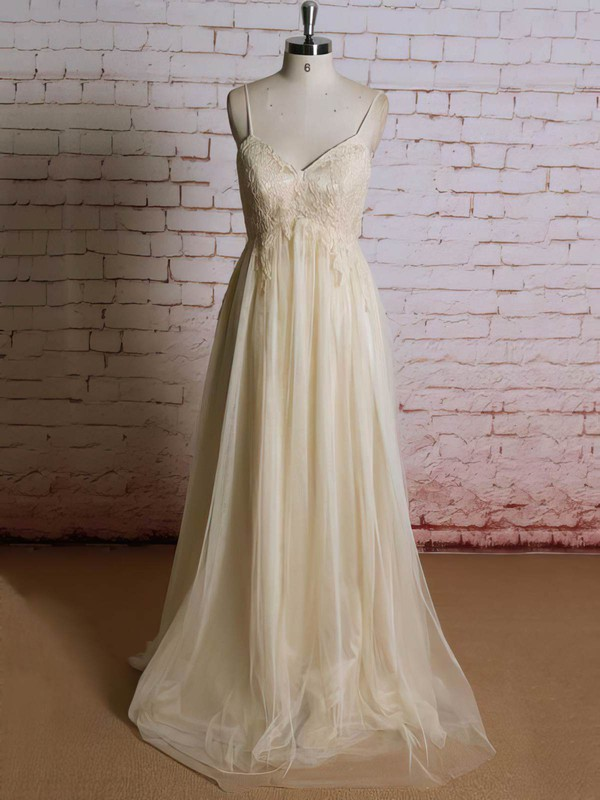 V-neck Empire Sweep Train Tulle Appliques Lace Wedding Dresses #DOB00021223
