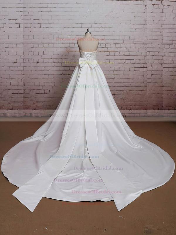 Square Neckline Princess Chapel Train Satin Bow Wedding Dresses #DOB00021224