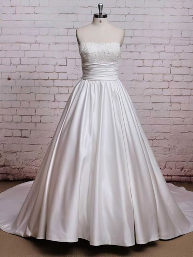 Square Neckline Princess Chapel Train Satin Bow Wedding Dresses #DOB00021224