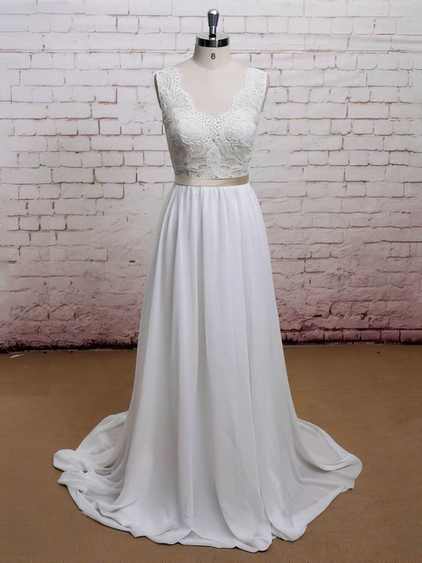 Sweetheart A-line Sweep Train Chiffon Lace Wedding Dresses #DOB00021225