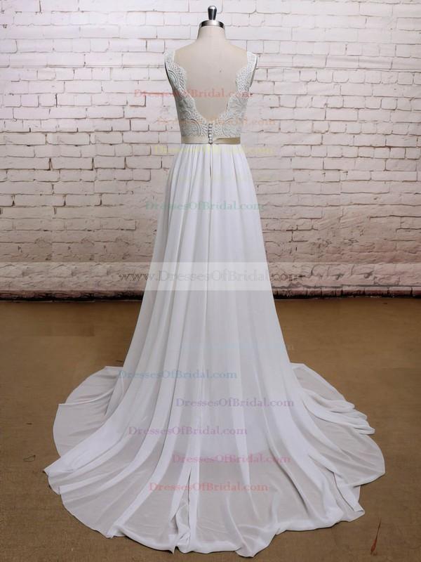 Sweetheart A-line Sweep Train Chiffon Lace Wedding Dresses #DOB00021225