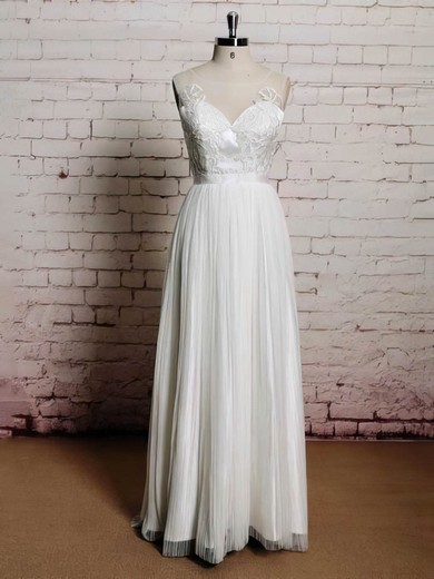Scoop Neck Princess Floor-length Chiffon Appliques Lace Wedding Dresses #DOB00021226