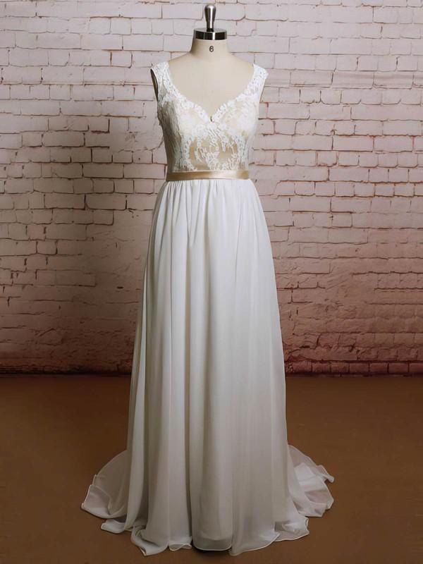 Sweetheart A-line Sweep Train Chiffon Lace Wedding Dresses #DOB00021227