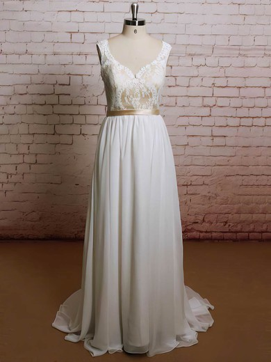 Sweetheart A-line Sweep Train Chiffon Lace Wedding Dresses #DOB00021227