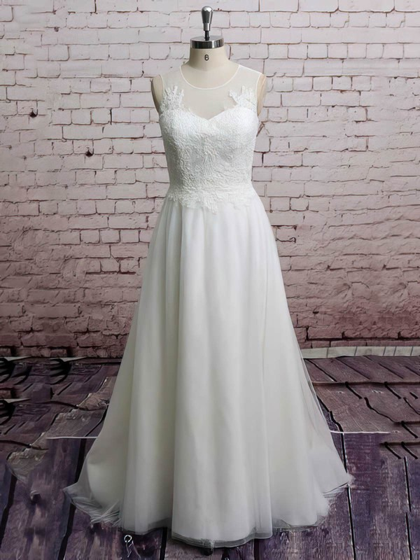 Scoop Neck Princess Sweep Train Tulle Appliques Lace Wedding Dresses #DOB00021228